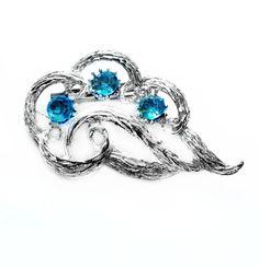 Vintage Blue Rhinestone Brooch, Silver Pin