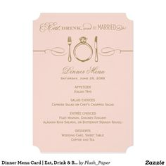 "Dinner Menu Card | Eat, Drink & Be Married Theme 5"" X 7"" Invitation Card"