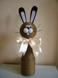 unique spring ornaments decor ideas to beautify your home page 18 Jute Crafts, Diy And Crafts, Crafts For Kids, Arts And Crafts, Wine Bottle Crafts, Bottle Art, Easter Projects, Easter Crafts, Easter Table Decorations