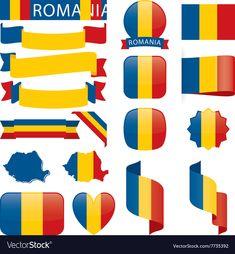 Romania flags vector image on VectorStock