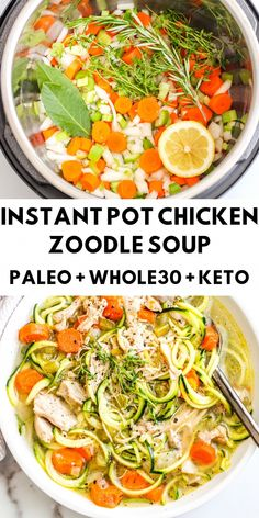 A healthy and delicious meal made in no time at all thanks to the Instant Pot. This chicken soup is so comforting and nourishing. Recipes paleo Instant Pot Chicken Zoodle Soup - The Bettered Blondie Paleo Recipes, Soup Recipes, Whole Food Recipes, Paleo Food, Paleo Diet, Healthy Instapot Recipes, Whole 30 Chicken Recipes, Paleo Pizza, Keto Taco