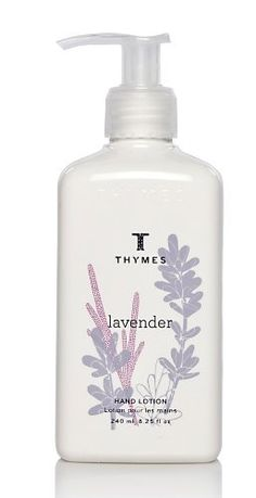 Thymes Hand Lotion, Lavender, 8.25-Ounce Pump Bottle by Thymes. $13.00. Thymes guarantees the safety of products without ever testing on animals. Contains moisturizing jojoba oil, hydrating honey, and soothing aloe vera. Eases dryness while gently stimulating skin's circulation and healing. Lavender is a composition of soft, velvet lavender blended with the warmth of rosewood, clary sage and violet leaf. 8.25 ounces of Hand Lotion that absorbs quickly, leaving hands lightly ...