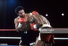 Roberto Duran lands a punch against Marvin Hagler during the fight at Caesars Palace IN Las Vegas Nevada Marvin Hagler won the WBC middleweight. Marvelous Marvin Hagler, Hands Of Stone, Martial Arts Training, Caesars Palace, Wbc, Las Vegas Nevada, Punch, Sports, Hs Sports