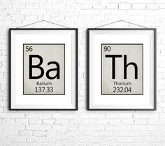 Apartment bathroom Art - Printable Bathroom Art Periodic Table Set of Two Science Prints Funny Bathroom Art Bath Neutral grey beige