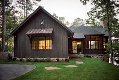 Furniture is what makes the home look and feel lived in. Lake Cottage, Rustic Cottage, Rustic Lake Houses, Lakeside Cottage, Cottage Ideas, Exterior Colors, Exterior Paint, Exterior Shutters, Modern Exterior