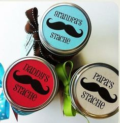 """Store his """"Stache"""" in style with these cute printables.  Avery full-sheet labels would be great for this. Just print, cut and stick. No glue or tape needed."""