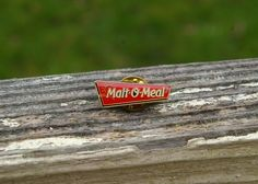 Malt-O-Meal Gold Tone Metal & Red Enamel Wal-Mart Employee Lapel Pin Pinback