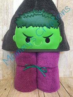 """Stack Stack Angry Green Hero Applique Hooded Bath, Beach Towel Cover Up 30"""" x 54""""  Personalization Available by MommysCraftCreations on Etsy"""