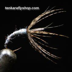 Sakakibara sakasa kebari. Pheasant hackle & grey-brown wool body with grey silk on a Japanese eyeless hook. Coming soon to Tenkara Fly Shop. http://www.tenkaraflyshop.com/tenkarastore.php