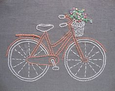 Bicycle embroidery pattern and kit - coral bike with pastel flowers on grey linen, inspired by vintage illustrations
