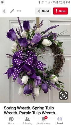 Jan's Elegant Wreaths. Wreath Crafts, Diy Wreath, Grapevine Wreath, Burlap Wreaths, Wreath Ideas, Purple Wreath, Tulip Wreath, Wreaths For Front Door, Door Wreaths