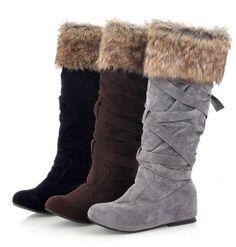 Fashion Increased Fur Cross Strap High Snow Boots