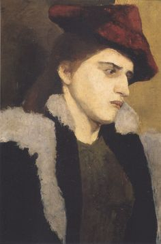 PAULA MODERSOHN-BECKER Portrait of a Young Woman with a Red Hat (1900)