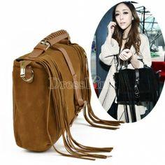 New Women's Girls Leisure Vogue Matte-leather Tassels Handbag Shoulder Bag 2Colors