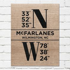 Longitude and Latitude Wall Art on Burlap - GPS Coordinates Print - Wedding Gift on Burlap - Housewarming Gift Print