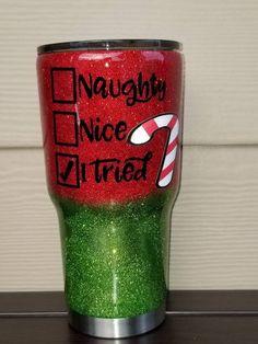 Naughty, Nice, I Tried Christmas Glitter Tumbler Diy Tumblers, Custom Tumblers, Glitter Tumblers, Grinch, Tumblr Cup, Christmas Tumblers, Glitter Cups, Glitter Glasses, Glitter Hair