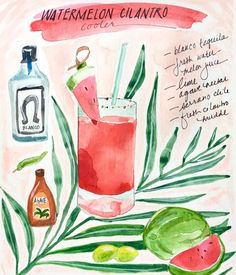 It's almost time to think about summer cocktails... . . . . #cocktailart #cocktailillustration #watercolour #makeartthatsells #tequila #illustration #artlicensing #sketchbook #drawing #foodillustration #illustratedrecipe #watermelon #womenwhodraw
