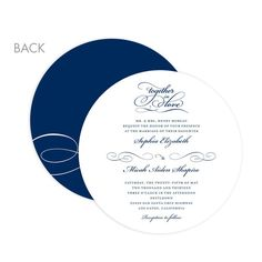 Signature White Wedding Invitation Circle Cards - Endearing Script by Wedding Paper Divas