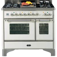 "ILVE 40 Inch Dual Fuel 4 Burner Range with Fry Top and Rotisserie and Chrome Trim $7,999.00 (main oven: 17.31"" W x 13.75"" D x 17.69"" H, small oven: 10.25"" W x 13.75"" D x 17.69"" H)"