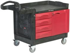 Rubbermaid Commercial FG453388BLA Trademaster Service Cart with Cabinet and Four Drawers, Small