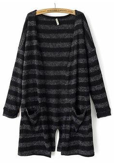 Grey-Black Striped Pockets Long Sleeve Cardigan