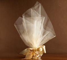 triple touli and satin ribbon gold