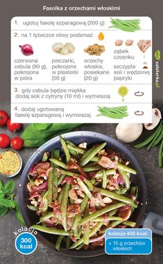 Jadłospis lipcowy 1500/2000 kcal - Salaterka Healthy Recipes, Healthy Food, Asparagus, Green Beans, Smoothie, Cabbage, Good Food, Lunch Box, Vegan