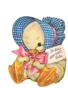1940s Vintage Easter card, darling duckling!