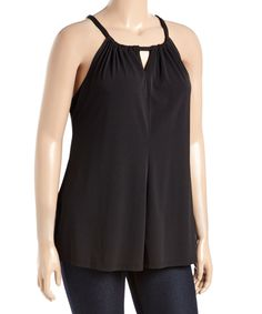 Another great find on #zulily! Black Tie-Back Halter Top - Plus by GLAM #zulilyfinds