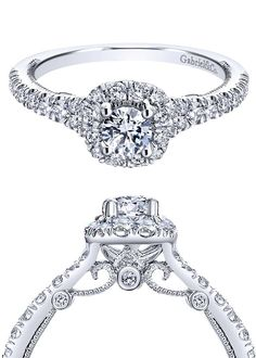 It's all in the detail. A gorgeous Gabriel & Co. 14k White Gold Contemporary Halo Engagement Ring.