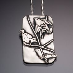 Three Silver Birds Pendant // Silver Woodland Bird Jewelry
