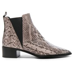 Acne Studios Jensen Snake Booties (€710) ❤ liked on Polyvore featuring shoes, boots, ankle booties, booties, snakeskin boots, mid heel booties, mid-heel boots, leather sole boots and snakeskin booties