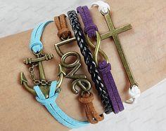 anchor bracletscross infinite bracelet blue by lifesunshine, $7.99