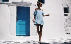 платье, летнее голубое платье, off-the-shoulder dress, summer wadrobe 2016