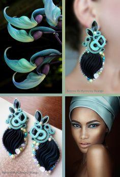 Silk Earrings, designed by Serena Di Mercione. - Shibori silk, soutache, swarovski, pearls.