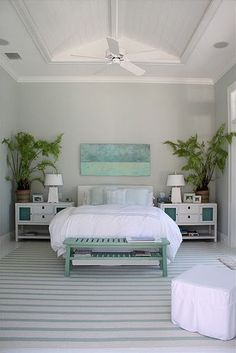 What a serene selection of colors for the bedroom . Lots of crisp white and ul. What a serene selection of colors for the bedroom . Lots of crisp white and ultra-pale blue, with the prettiest green palms. House of Turquoise: Molly Frey Design Tropical Bedrooms, Coastal Bedrooms, Tropical Bedroom Decor, Coastal Curtains, Coastal Bedding, House Of Turquoise, Turquoise Bedrooms, Turquoise Room, Turquoise Accents