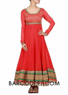 $240 Buy it now http://www.barcode91.com/a-red-anarkali-dress-in-chiffon-with-multi-border-at-the-hem-by-kalki.html A red anarkali dress in chiffon with multi border at the hem  by Kalki