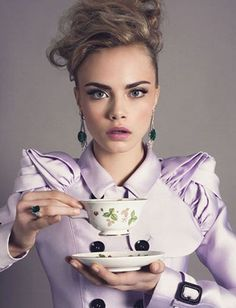 Cara Delevingne with her cup of tea