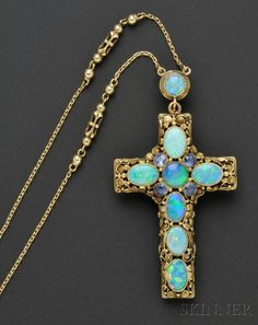 Arts & Crafts Gold, Opal, and Pearl Cross and Chain, Edward Oakes Jewelry Crafts, Jewelry Art, Antique Jewelry, Vintage Jewelry, Jewelry Accessories, Fine Jewelry, Jewelry Design, Jewellery, Antique Gold
