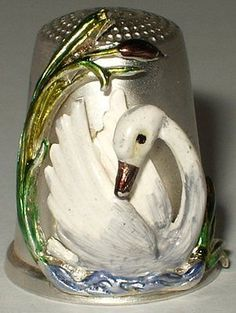 RP: German Sterling Silver Thimble - Enamel Swan - ebay.co.uk