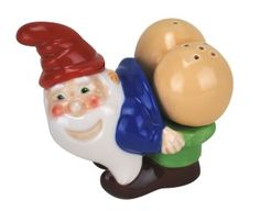 Mooning Garden Gnome Salt and Pepper Shaker Set Is your friend huge fan of gnomes and still juvenile enough to appreciate it. Then this hilarious set is just for them.http://theceramicchefknives.com/novelty-salt-and-pepper-shakers/ Mooning Garden Gnome Salt and Pepper Shaker Set