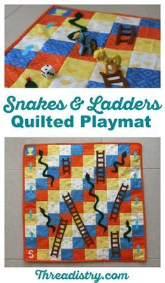 How to sew a quilted Snakes and Ladders playmat - great handmade gift idea for kids (boys and girls - woo hoo). I might have to sew a few for Christmas and birthdays! Easy to follow sewing tutorial.