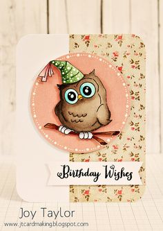 Birthday Whoot from Art Impressions Simple Birthday Cards, Handmade Birthday Cards, Birthday Greeting Cards, Happy Birthday Cards, Greeting Cards Handmade, Birthday Wishes, Swing Card, Art Impressions Stamps, Owl Card