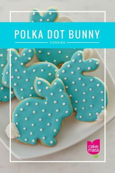 Hippity Hop! These cute bunny shaped sugar cookies are a cinch to make, so hop to it! Decorated with vibrant blue cookie icing and white pearl decors from Cake Mate®️️️ these effortless Spring themed desserts will have you jumping for joy!