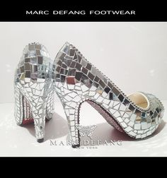 Luxury mirror Heels with crystalized Soles by MARC DEFANG by MDNY, $249.00