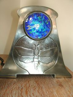 large Arts and Crafts Nouveau Glasgow Pewter and Enamel Clock Tudric Liberty
