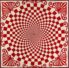 """Vortex quilt  Artist unidentified United States; 1890-1910 Pieced and appliquéd cotton; 80 x 82"""" Collection of Joanna S. Rose Photograph by Gavin Ashworth Click to enlarge."""