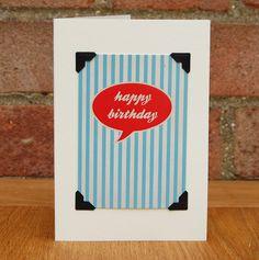 Happy Birthday £3 #greetingscards #typography #digitaldesign #handmade #birthdaycard #stripes