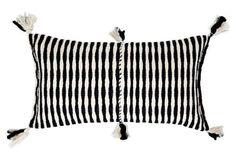 Antigua 12x20 Lumbar Throw Pillow, Black and White Stripes with Corner Tassels -- This snappy, tasseled pillow makes for a funky yet sophisticated accent wherever you put it--without clashing. The cover was handwoven in partnership with weaver Olga Reiche and her artisan groups just outside of Antigua, Guatemala.