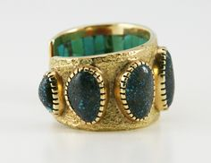 Hopi Bracelets - Charles Loloma - Hopi Lander Blue Turquoise and 14K Gold Bracelet with Interior Multi-Stone Inlay